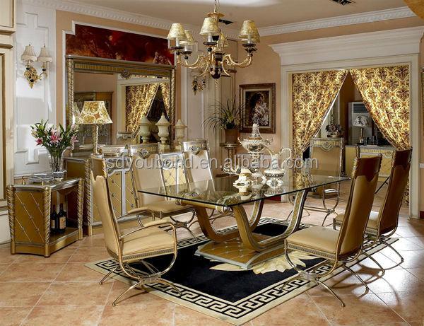 0016 High Quality Luxury Italian Design Antique Gold Dining Room