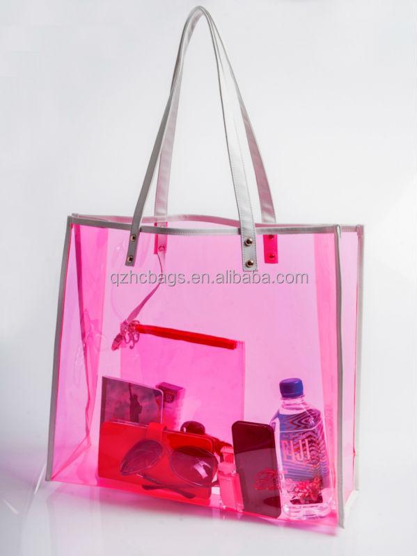 Waterproof Clear Pvc Beach Bag With Zipper Pouch Esc Hb028