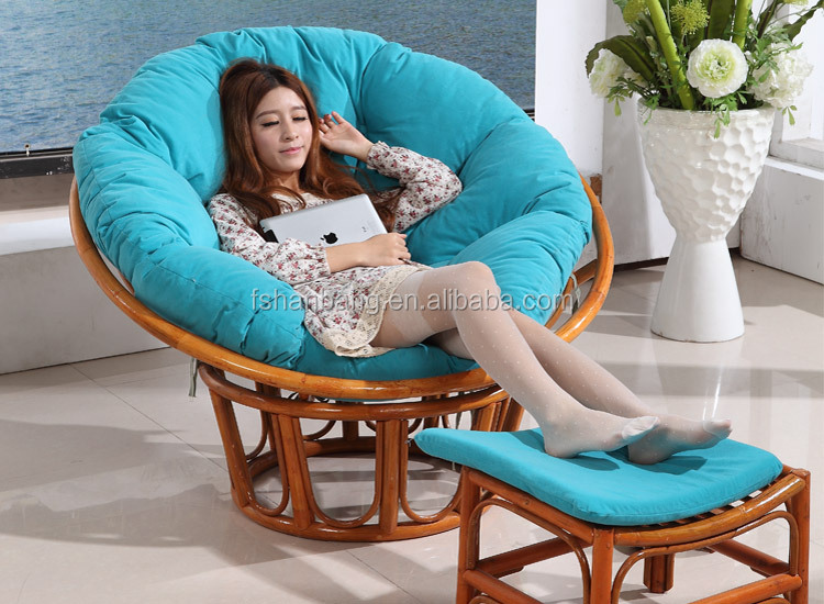 Round Large Adult Natural Rattan Wicker Cane Wood Plush Sleeping Relax  Lounge Bowl Saucer Chair With