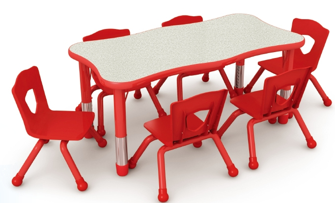 Beautiful Wave Preschool Dining Table And Chairs Plastic Furniture Colorful Nursery