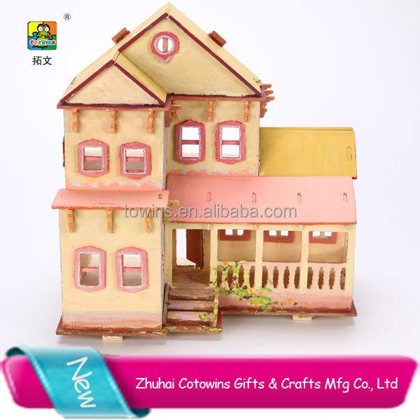 ... Diy Building Puzzles 3d House Cardboard Puzzle,American Villa Diy
