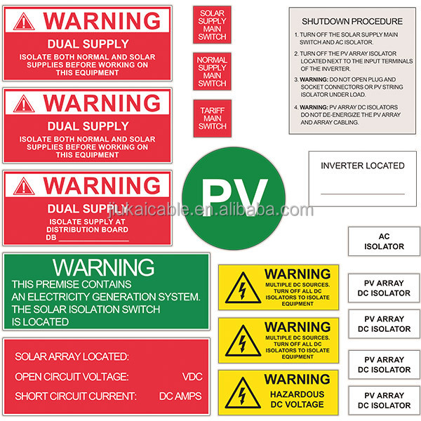As Nzs 5033 23pcs Set Pv Solar Safety Label Decals Ac Dc