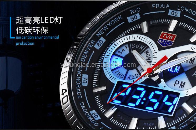 chino relojes marcas de lujo tvg hombre reloj doble movimiento de cuarzo y reloj