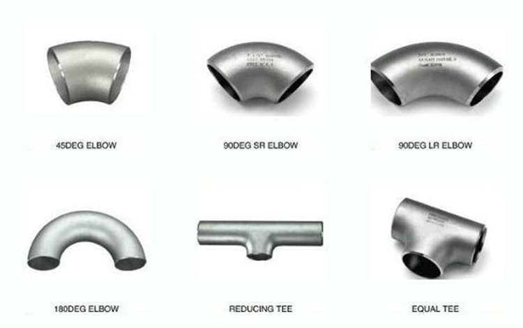 Stainless steel butt welded pipe fittings elbow tee caps