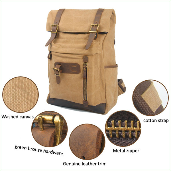 6896 Popular Design Khaki Foldover Rucksack Washed Canvas Backpack with Folded Top and Brass Snaps