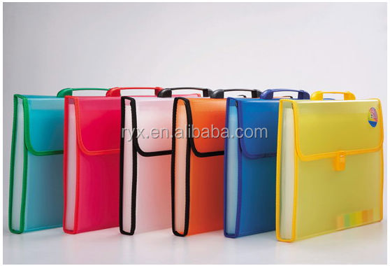wholesale two tone pp accordion folder clear plastic expanding files with front button - Accordion Folder