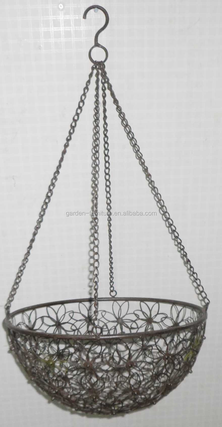 Metal Flower Hanging Baskets : Handicraft decorative metal planter fruit bowl wrought