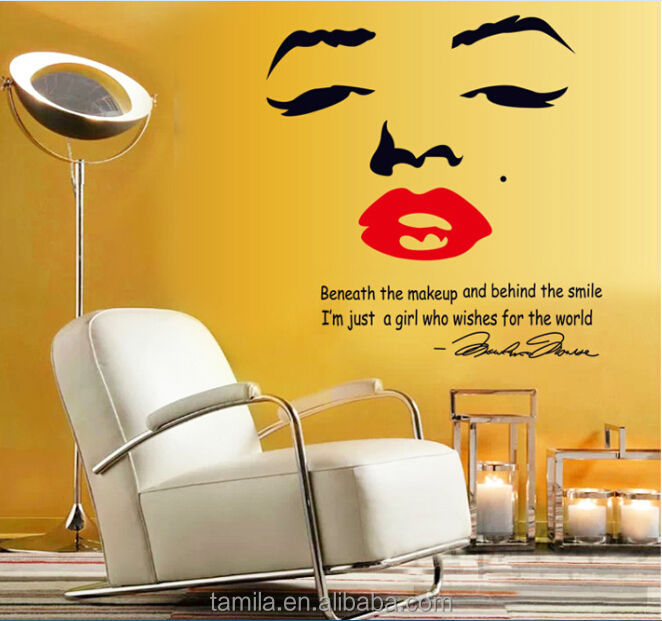 Marilyn Monroe Face Red Lip Inspirational Quotes Wall Stickers ...