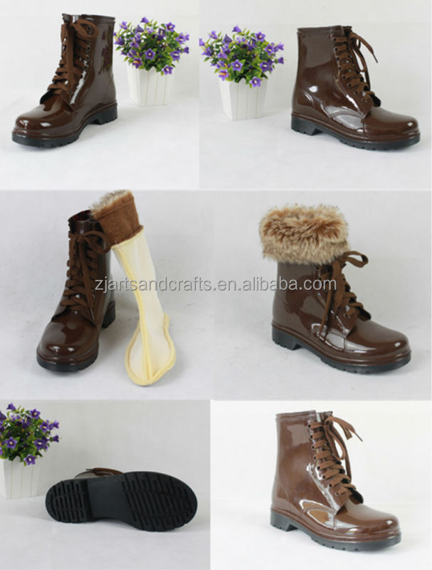 China tie shoelace pvc martin boot brown