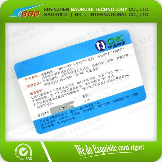 Telecom Pin Number Printing Paper Scratch Card