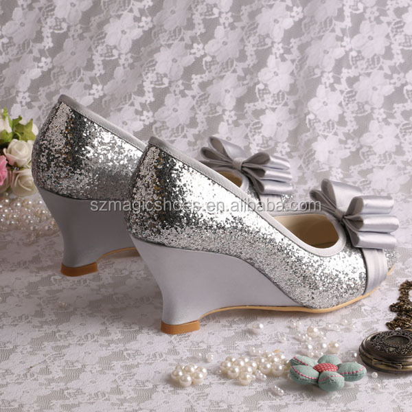 Elegantes De zapatos Tacón Fiesta Buy Plata En Noche Zapatos Elegante Con Brillo Arcos Cuña H9eDYW2bEI