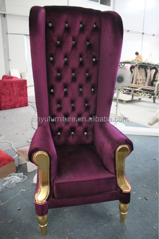 Special fabric cover antique king queen chairs XYN62 - Special Fabric Cover Antique King Queen Chairs XYN62, View King