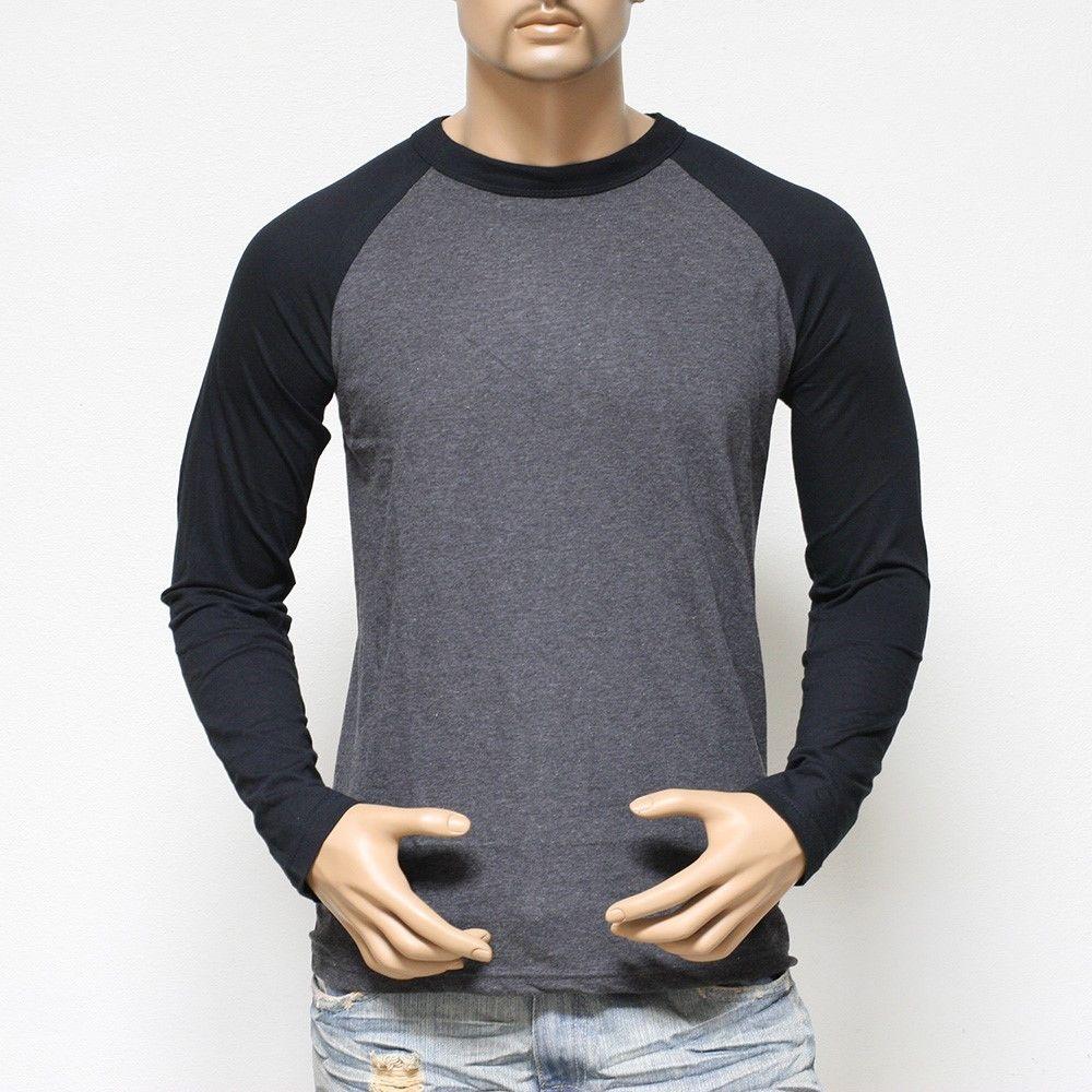 Plain Long Sleeve Baseball T-shirts For Men Jersey Vintage Tee ...
