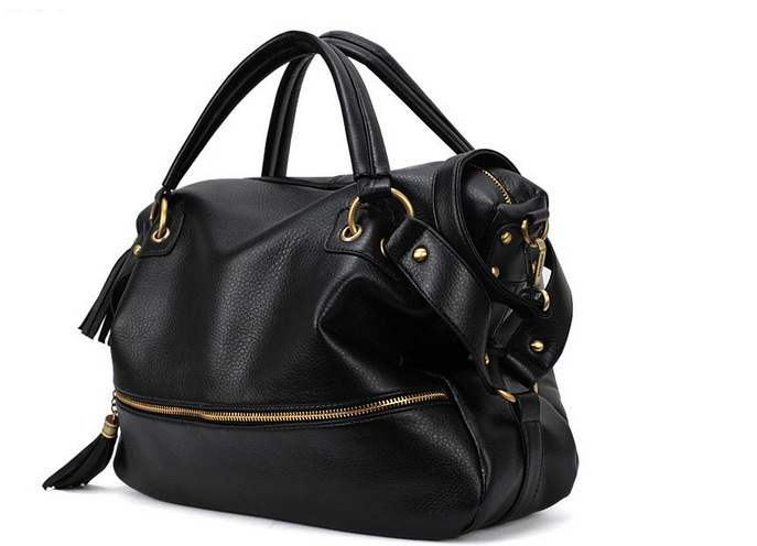 2014 Fashion Women Black Leather Shoulder Tote Handbag Hobo Purse ...