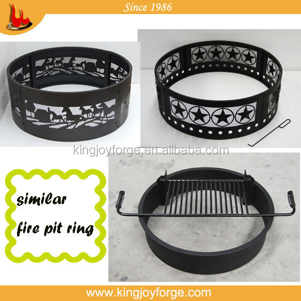Horse Pattern 36 Inch Steel Fire Pit Ring With Cooking Grate