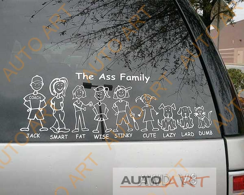 Car window sticker funny ass family vinyl graphic decal