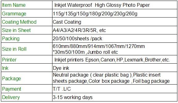 Koala Ultra crystal glossy photo paper, 115g - 260g premium high glossy inkjet paper