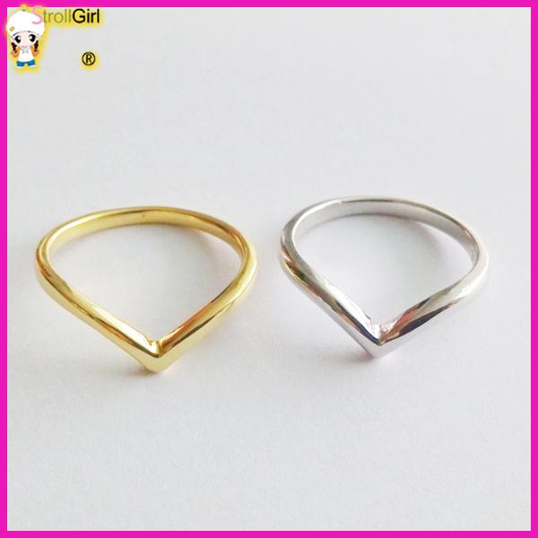 cheap wholesale new design gold V chevron shaped finger ring 2016