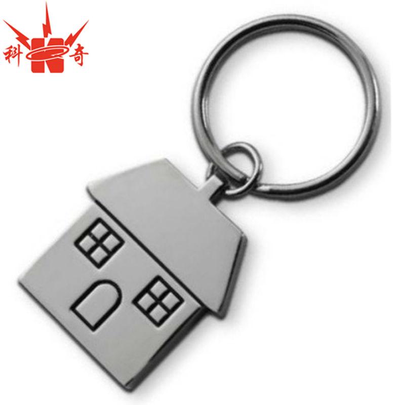 House Swivel Keychain Polished Nickel Plated House Key Chain