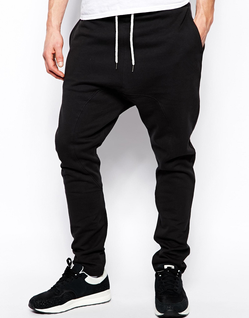 drop crotch black baggy pant men with cuffed hem buy