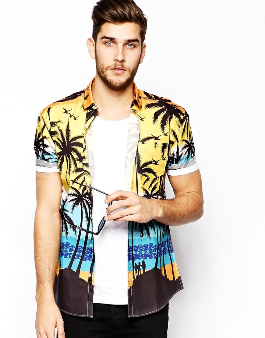 Shirt with palm tree print cotton fabric mens dress shirts for Men s dobby shirt