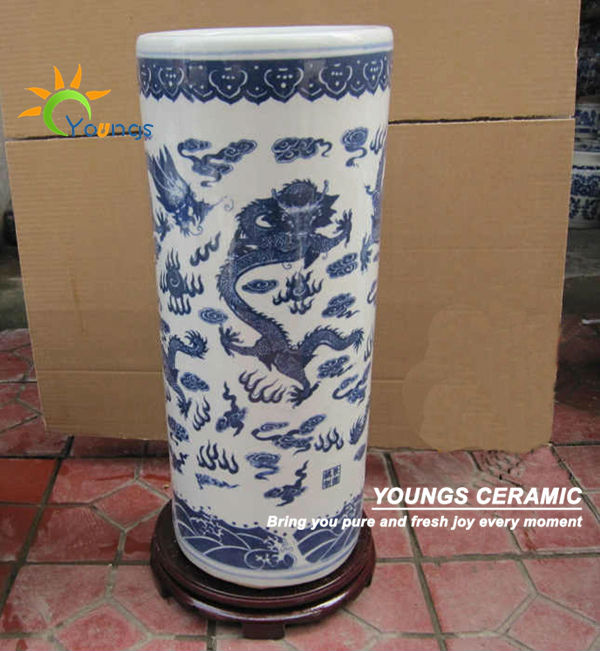 Varied Chinese Blue And White Ceramic Cylinder Floor Standing Vases For Umbrella Buy Floor Standing Vases Cylinder Vases Ceramic Umbrella Vase