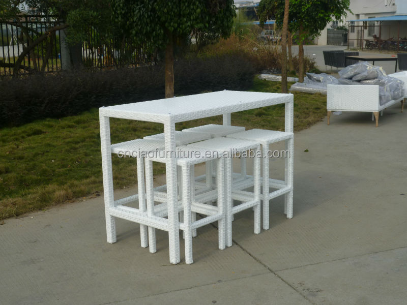 A Dubai Outdoor Pub Set White Long Tall Table And Wicker
