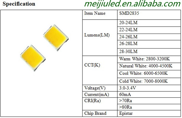 Cool White 28-30lm Epistar 2835 3528 Smd Led Specifications Led Chip