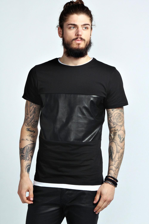 Pu Panel T Shirt/blank Custom Designs Tshirt/high Fashion ...