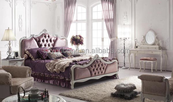 YB07 White Wooden High End Italian Neo Classic Bedroom Set Furniture