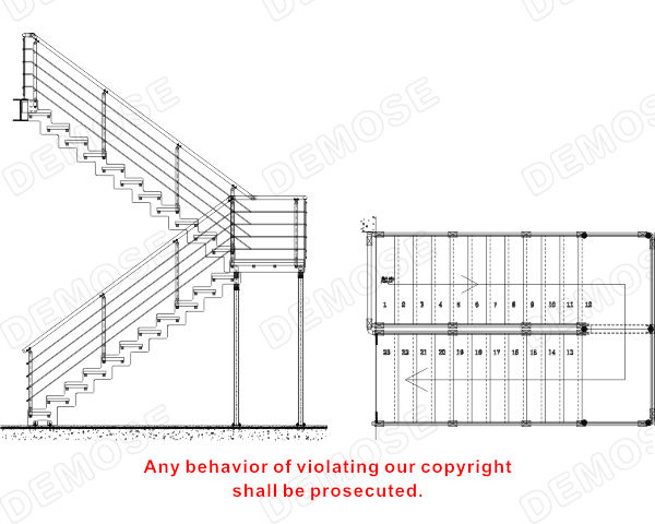 Customized Wood Tread Stainless Steel Stair Stringers