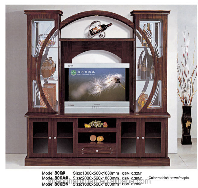 India Style Tv Cabinet With Showcase 805 Led Tv Wall Unit
