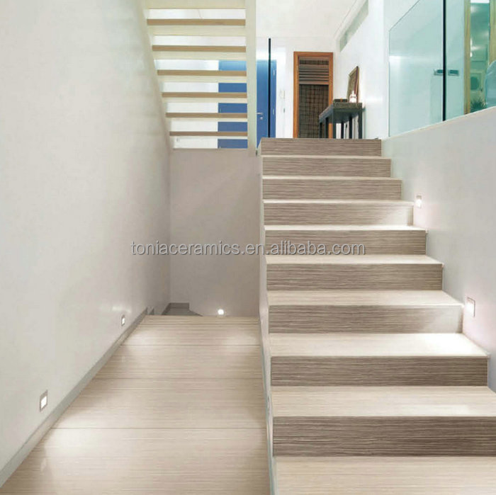 TONIA 4.8mm Thickness Thin Tile Porcelain Wood Look Wooden Finish Step Tiles  Stair Riser Skirting