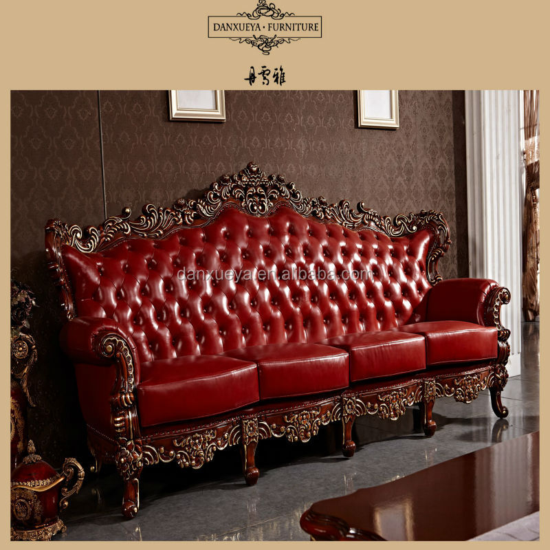 Red antique elegant french style living room luxury royal for Best time buy living room furniture