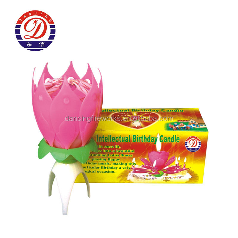 Musical Lotus Shaped Birthday Candle Fireworks With Cheap Price