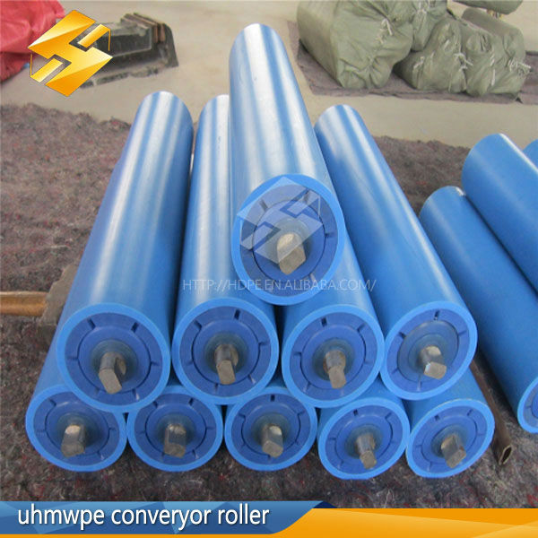 high wear small carrier plastic PE roller hdpe/upe belt conveyor idler roller nylon conveyor rollers
