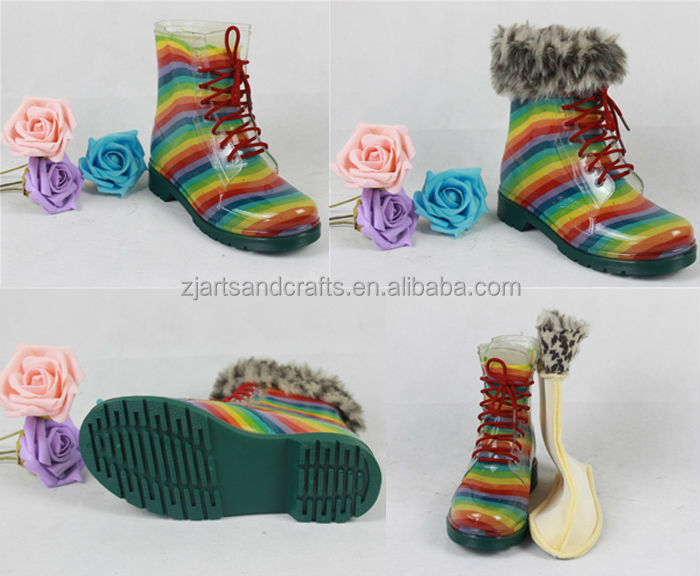 2014 Waterproof tie shoelace pvc martin rainbow boots snow woman boot