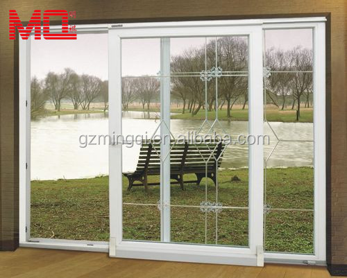 White Pvc Large Glass Simple Indian Designs Sliding Balcony Patio Door