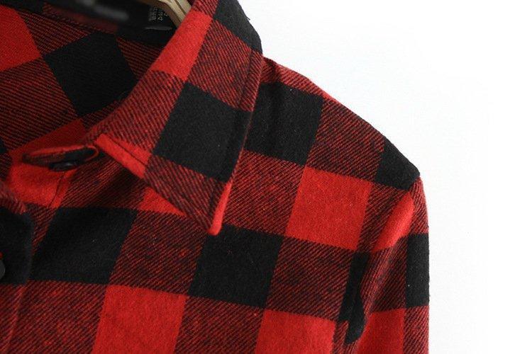 0a4050d5d84 2019 Wholesale 2015 Autumn Laides Black Red Flannel Plaid Shirt ...