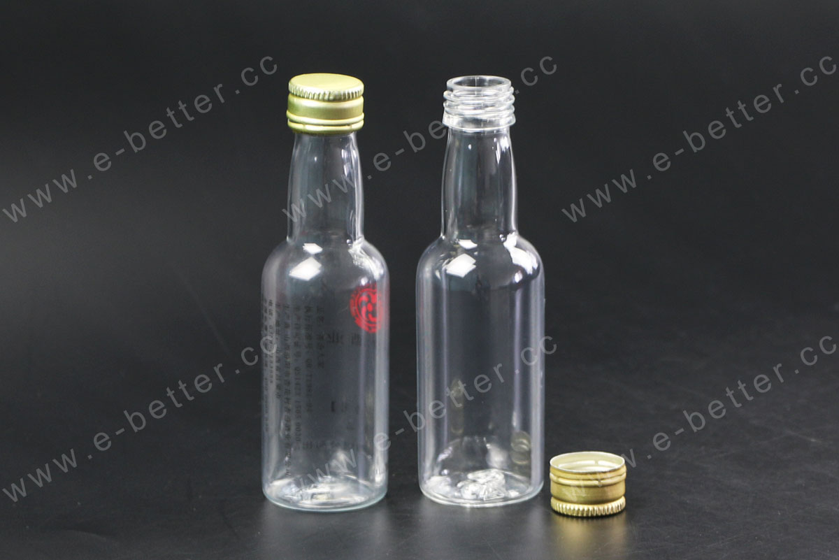 empty small pet plastic wine bottle with pilfer