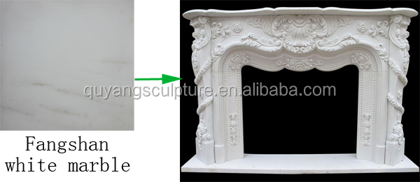 Classic Carved Travertine French Fireplace Mantel