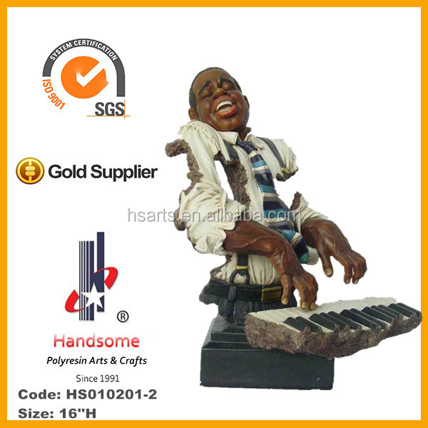 16''H Resin man wear black suits play piano statues for black people human figure in sculpture and crafts