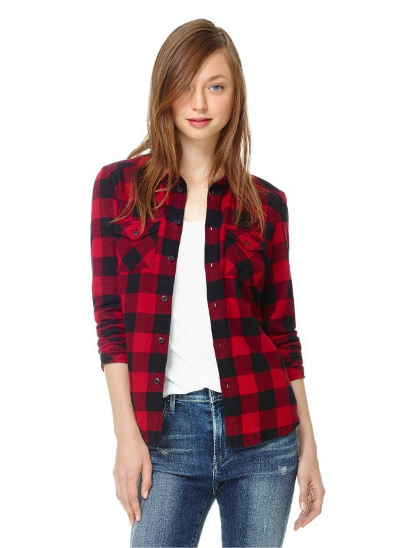 49d715eed21 2019 Wholesale 2015 Autumn Laides Black Red Flannel Plaid Shirt Women  Blouses Cotton Tops For Women Clothing Brand Blusas Femininas Outwear From  Apparelone