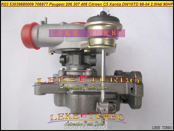 K03 53039880009 53039700009 706977-0003 Turbo Turbocharger For Peugeot 206 307 406 Citroen C5 Xantia DW10TD RHY 1998-2004 2.0L HDI 90HP (2)