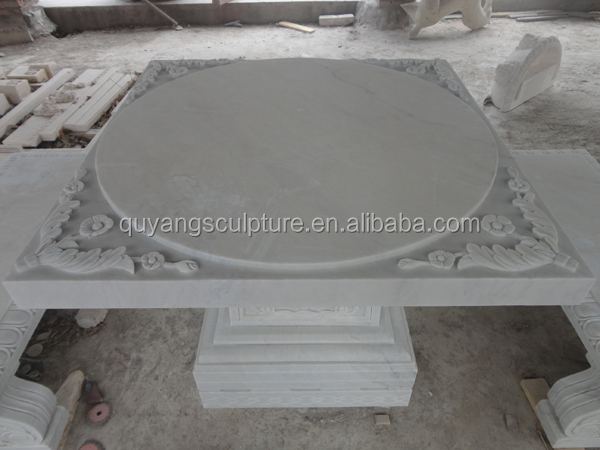 Carved Outdoor Stone Table and Bench