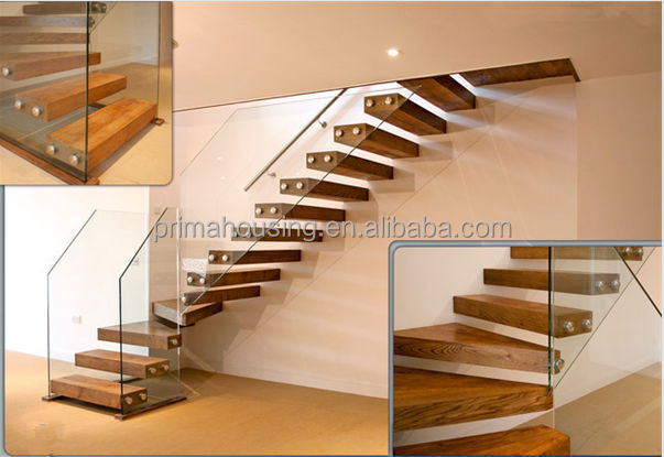 Modern L Shape Wood Staircase Glass Railing Stairs(PR L1062)