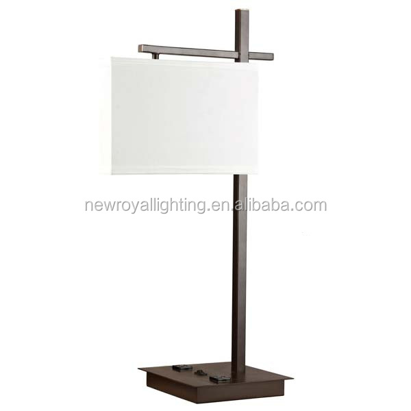Hot Sell Popular Modern Hotel Metal Table Lamp With Fabric Shade ...