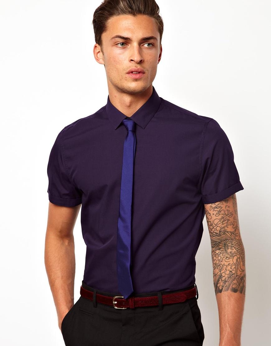 Fashion Men Shirt In Short Sleeve Cotton Fabric Mens Dress Shirts