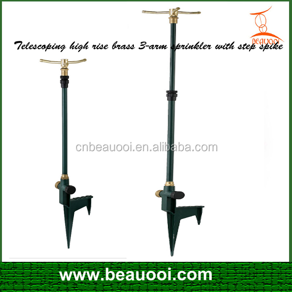 Telescoping High Rise Brass 3-arm Sprinkler With Step Spike Garden ...
