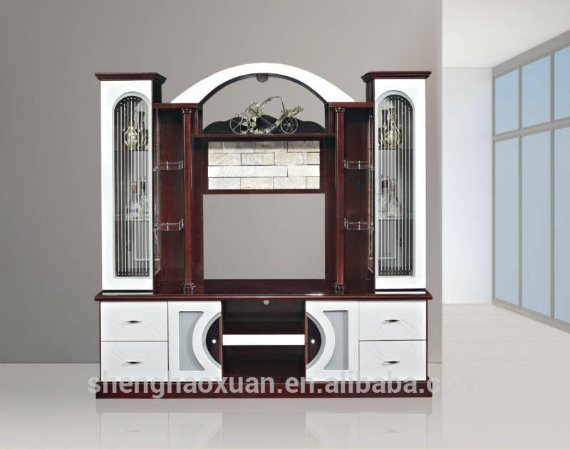 Mdf Red And White Living Room Cabinet Wall Units 815AB Tv Designs India